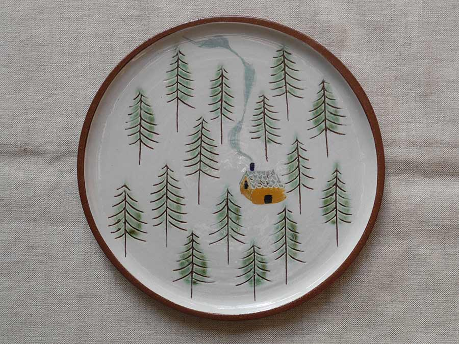 Lucy Ogden Ceramics Cabin in the woods plate image