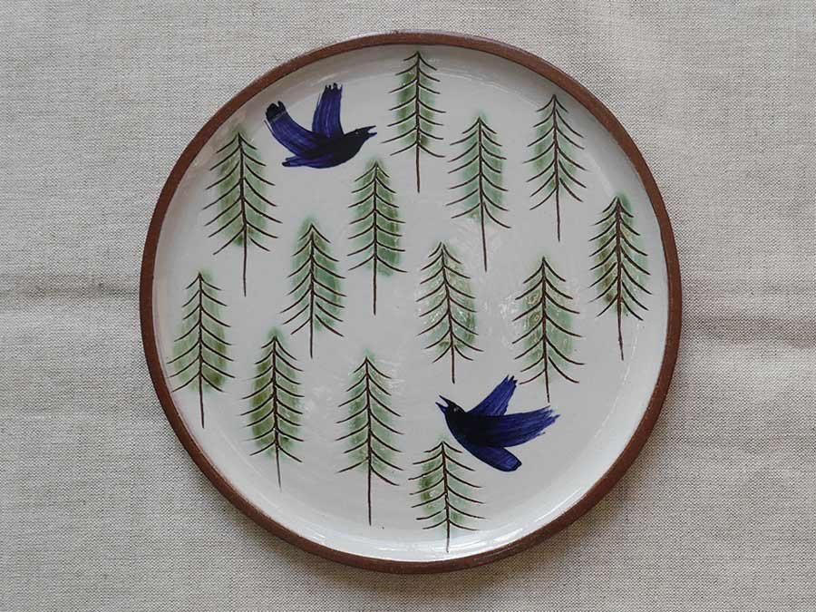 Lucy Ogden Ceramics rooks in the wood plate image