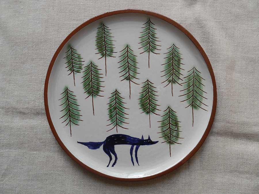 Lucy Ogden Ceramics wolf in woods plate
