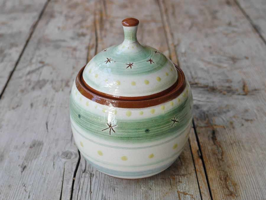 Slip decorated salt Pot