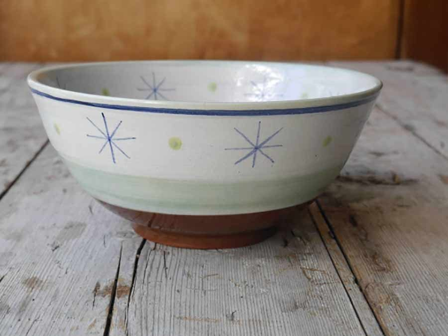 Hand thrown and decorated bowl