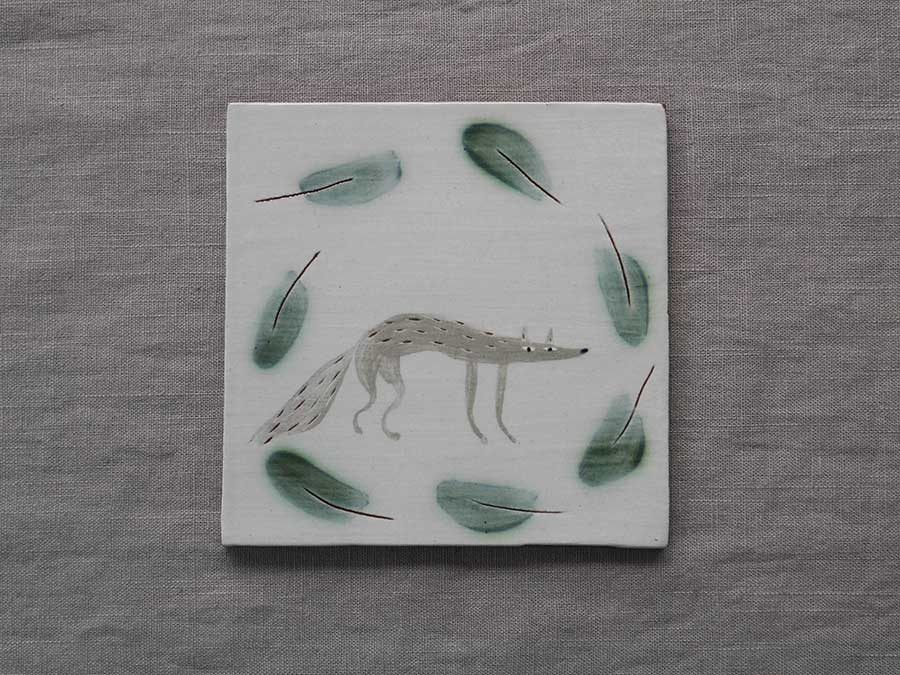 Wolf and Leaves Tile