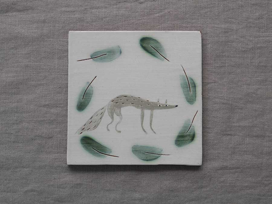 lucy ogden ceramics woodland wolf tile sussex handmade image