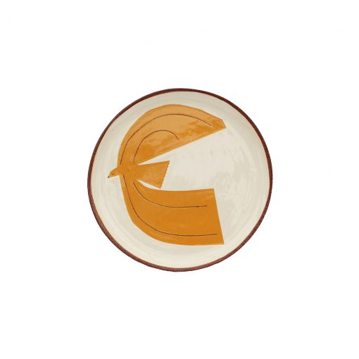 lucy-ogden-handmade-decorated-ceramics-sussex-plate-orange-lark-cutout-small image
